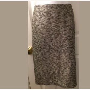DONCASTER Pencil Skirt Black White Tweed Silk Blen